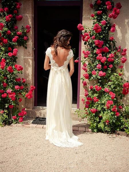 A Line V Neck Cap Sleeves Backless Lace Ivory Wedding Dresses, Bridal Dresses, Lace Prom Dresses