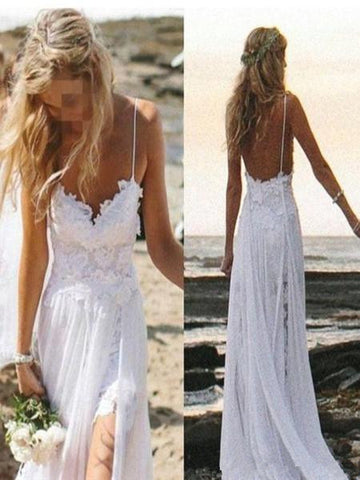 Custom Made A Line Backless Lace Wedding Dresses, Dresses For Wedding, Lace Prom Dresses