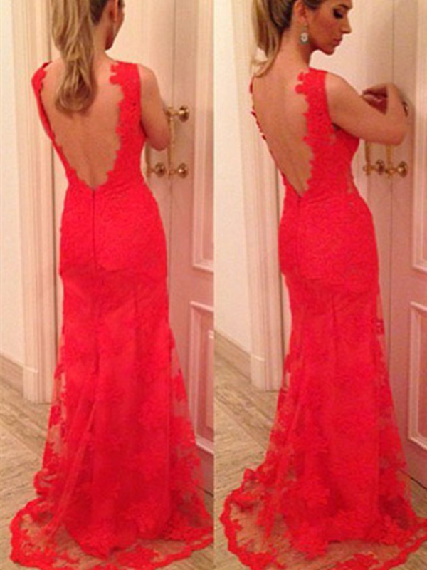 Custom Made V Neck Back Mermaid Red Lace Prom Dresses, Red Lace Formal Dresses