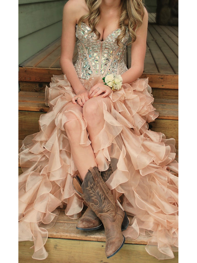 Custom Made Pink High Low Prom Dresses, Evening Dresses, Party Dresses, Formal Dresses