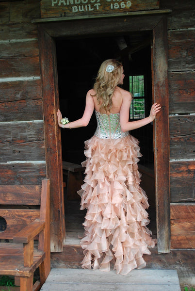 Custom Made Pink High Low Prom Dresses, Evening Dresses, Party Dresses, Formal Dresses Back Details