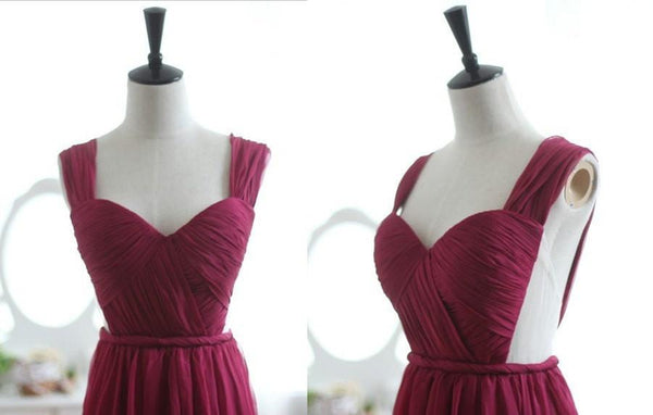 Wine Red Burgundy Chiffon Prom Dress/Bridesmaid Dress