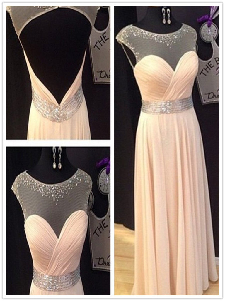 A Line Round Neck Floor Length Prom Dresses, Long Formal Dresses