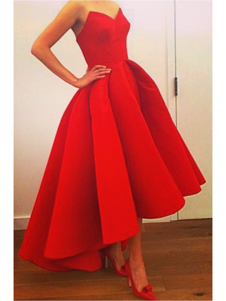 Strapless Red High Low Sweetheart Neck Prom Dress, Prom Gown, Red High Low Formal Dress