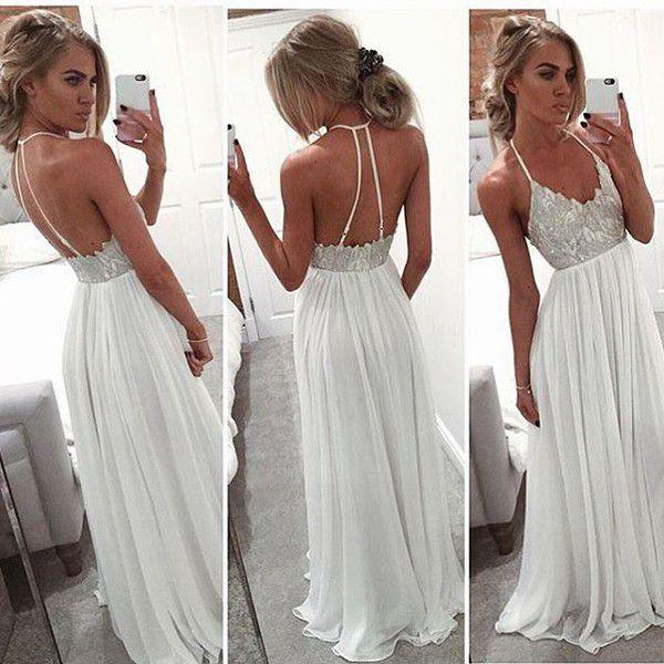 A Line Halter Neck White Backless Floor Length Chiffon Prom Dress With Sequins, White Backless Formal Dress
