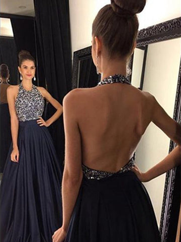 Custom Made A Line Halter Neck Black Backless Prom Dresses, Black Backless Formal Dresses
