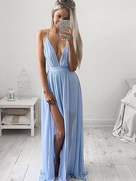 Custom Made A Line V Neck Light Blue Prom Dress with Slit, Light Blue Formal Dress, Bridesmaid Dress