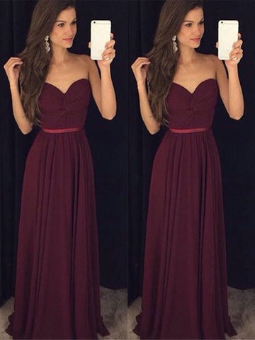 Sweetheart Neck Floor Length Maroon Bridesmaid Dress, Maroon Formal Dress, Simple Evening Dress