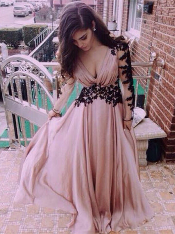 Custom Made Dusty Pink Deep V Neck Prom Dresses, Formal Dresses, Party Dresses