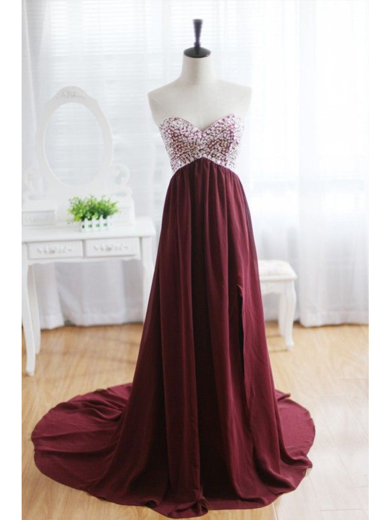 Custom Made A Line Sweetheart Neck Maroon Sweep Train Prom Dresses, Formal Dresses