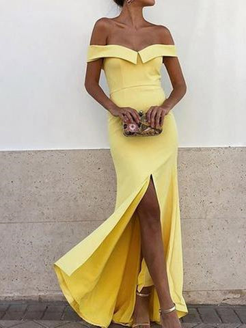 Yellow off shoulder mermaid prom dress with front slit, Yellow formal evening dress