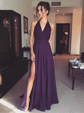 Simple V Neck Floor Length Purple Prom Dress with Slit, Purple Formal Dress, Evening Dress
