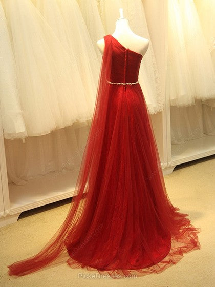 A-Line Red One Shoulder Prom Dress, Long Pleated Tulle Formal Dresses