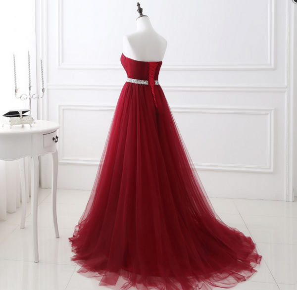 Sweetheart Neck Red A-line Long Evening Prom Dresses, Red Formal Dress, Burgundy Graduation Dresses