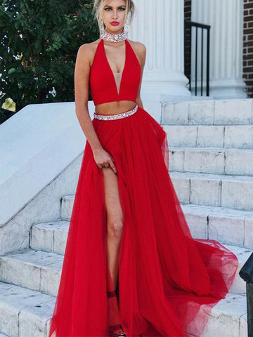 Fashion Two Piece Sleeveless Long Red Prom Dress, V-Neck Formal Dresses, Red Homecoming Dresses