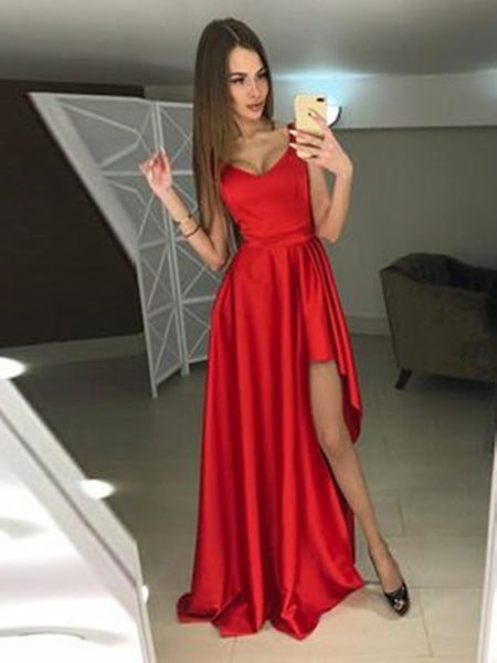 Red Long High-Low Prom Dresses, A-line Formal Dresses, Graduation School Party Gown