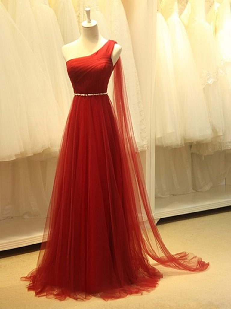 A-Line Red One Shoulder Prom Dress