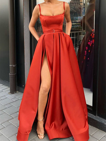 Elegant Red Evening Dresses, Sleeveless Prom Dresses, High Slit Formal Dresses