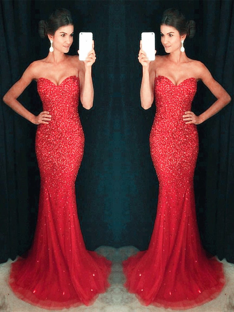 837781b5bf86 Red Mermaid Floor Length Strapless Prom Dresses, Red Mermaid Formal Dresses