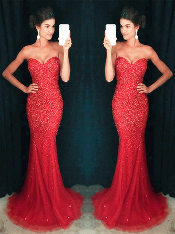 Red Mermaid Floor Length Strapless Prom Dresses, Red Mermaid Formal Dresses