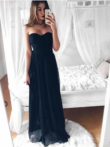 Custom Made A Line Sweetheart Neck Long Black Chiffon Prom Dresses, Black Bridesmaid Dress, Formal Dresses