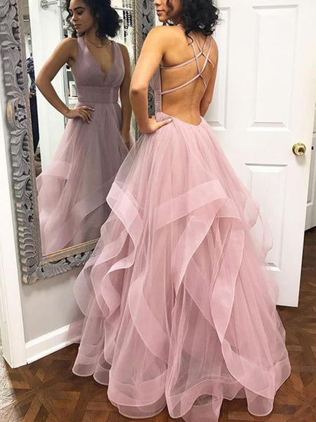 A Line V Neck Dusty Rose Long Open Back  Prom Dresses With Straps,  Dusty Rose Ruffles Formal Graduation Evening Dress