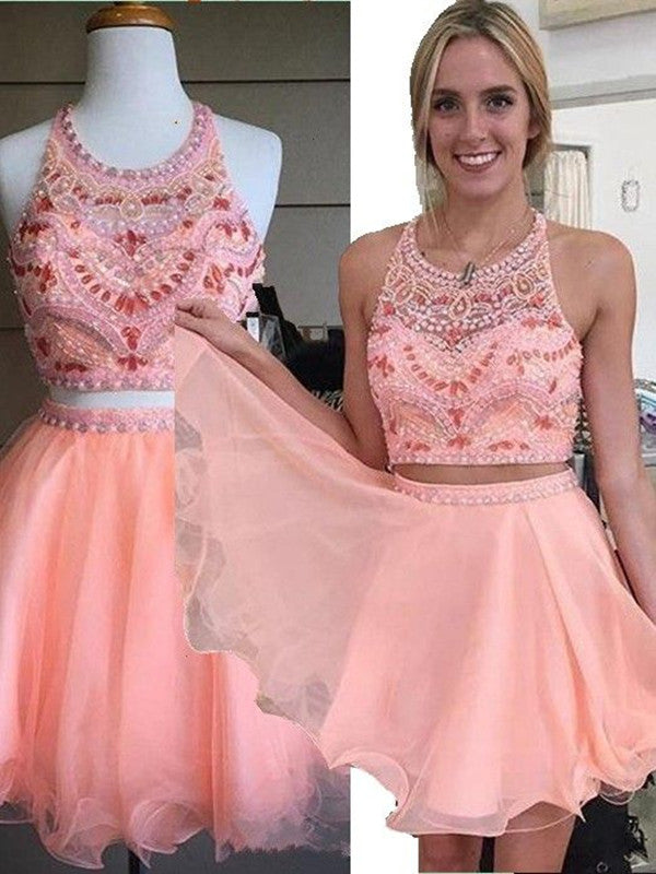 A Line 2 Pieces Round Neck Short Pink Prom Dresses, 2 Pieces Short Pink Homecoming Dresses, Graduation Dresses