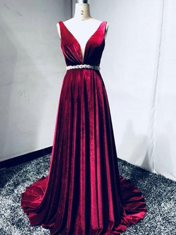 1d3b9175697 A Line V Neck Burgundy Sweep Train Prom Dresses