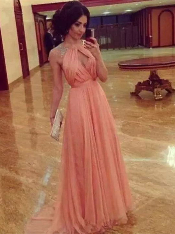 Custom Made Round Neck Cap Sleeves Backless Long Prom Dress, Long ...