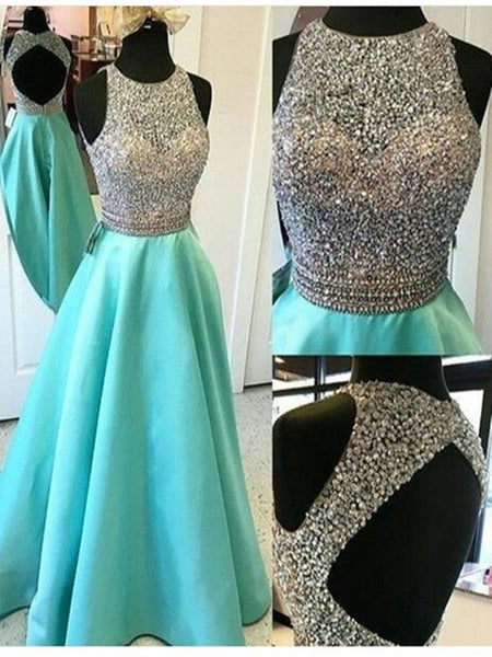 Custom Made Round Neck Open Back Prom Dresses, Backless Prom Dresses, Backless Formal Dresses