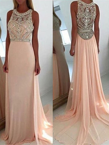 A Line Round Neck Light Pink Long Prom Dress, Pink Long Formal Dress, Graduation Dress