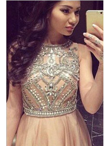 Custom Made A Line Round Neck Sleeveless Long Prom Dresses, Long Formal Dresses