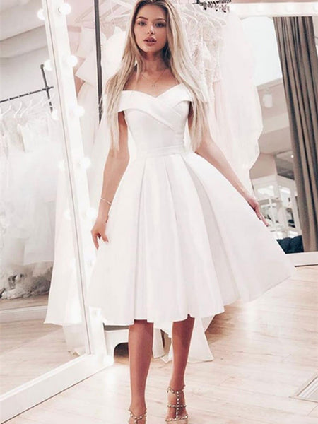 Simple white off shoulder satin short prom dress, Short bridesmaid dress, White homecomimg dress