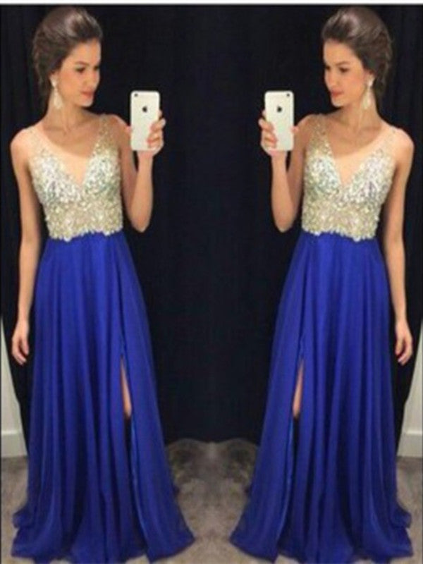 Custom Made A Line V Neck Blue Prom Dresses, Blue Formal Dresses, Evening Dresses
