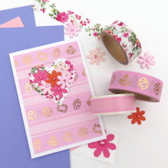 Pink Floral Washi Tape Card