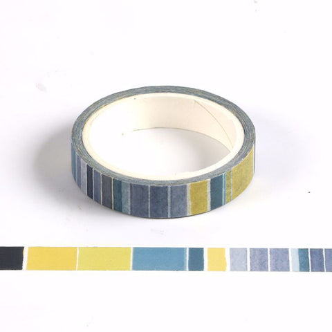 Washi Tape Blue Multi-coloured Stripe 10mm