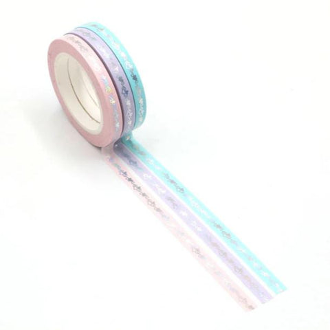 Skinny Washi Tape Set - Pastel with silver foil hearts for valentines