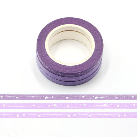 Slim Washi Tape Set - Purple Stars