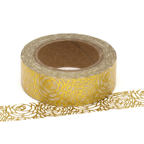 Washi Tape, Gold Foil, Floral