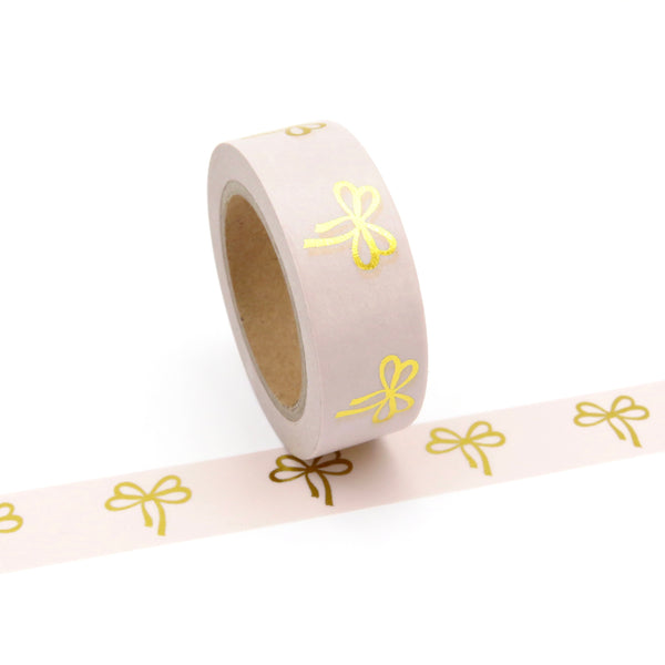 Washi Tape Gold Bows on Pink