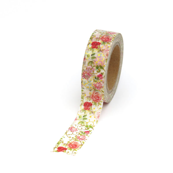 Red Floral Rose Garden Gilded Washi Tape