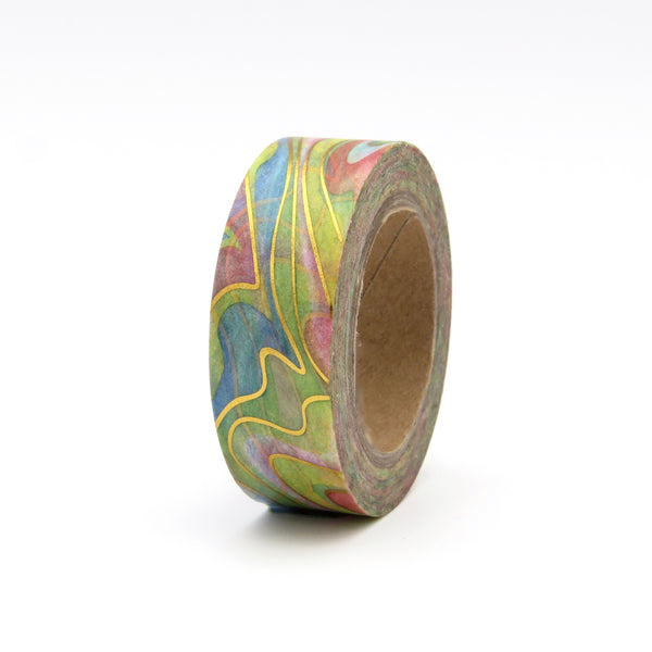 Water Colour Washi Tape Rainbow & Gold