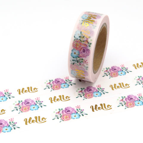 Hello Floral Gold Foil Washi Tape