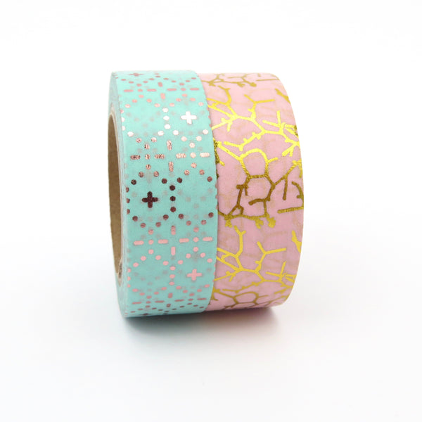 Washi Tape, Gold Foil Pink, Crackle