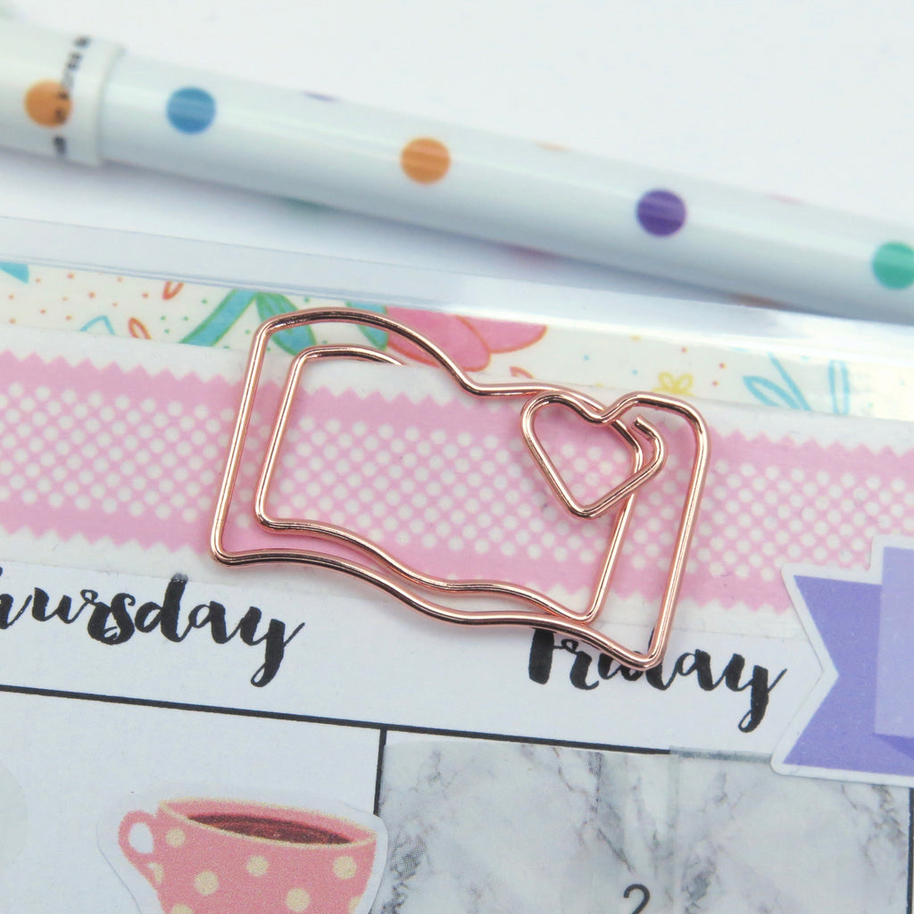 Planner Clips, Rose Gold Notebook, Set of 4