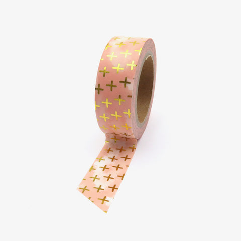 Washi Tape, Gold Foil Peach Crosses