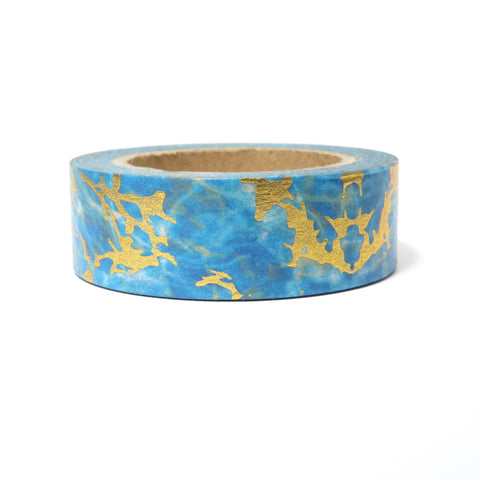 Washi Tape, Gold Foil Blue, Marble