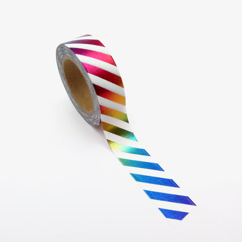 Washi Tape, Foil, Rainbow Stripe