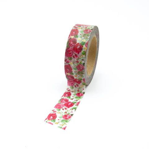 Red Rose Floral Washi Tape with Gold Foil accents