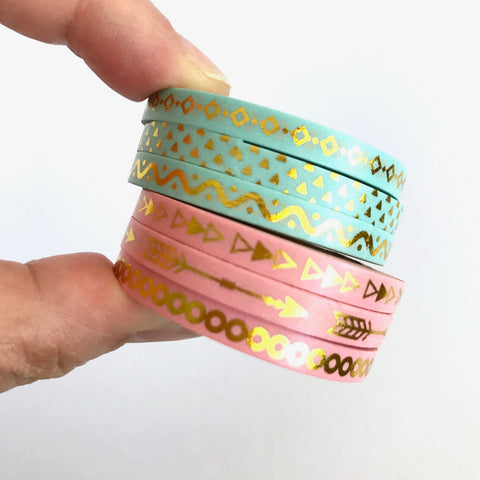 Slim Washi Tape Set, Gold Foil Pink or Green